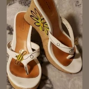 Coach wedge thong shoes size 6